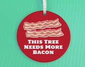 Holiday Ornament - Bacon Ornament - Christmas Ornament - funny gag gift ornament - This Tree Needs More Bacon ornament -co34