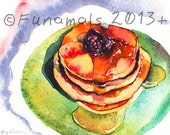Pancakes Watercolor Print Reproduction 8x10 inches food illustration blackberry