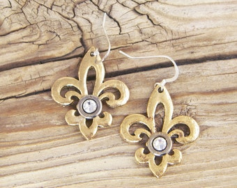 Bullet Earrings / Gold Hammered Fleur de Lis Earrings ANY-25-N-GHFE / Gold Earrings / Fleur de Lis Earrings / Fleurdelis Earrings / Custom