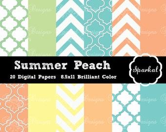 Chevron Digital Paper, PRINTABLE Preppy Paper, Birthday Party Paper, Peach Chevron, Party Paper, Morrocan Instant Download