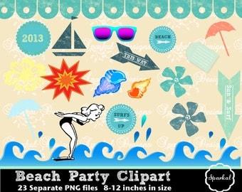 Beach Clipart, Retro Summer elements and Invitation Clip art, Waves and Sailboats Seashells and Sunglasses