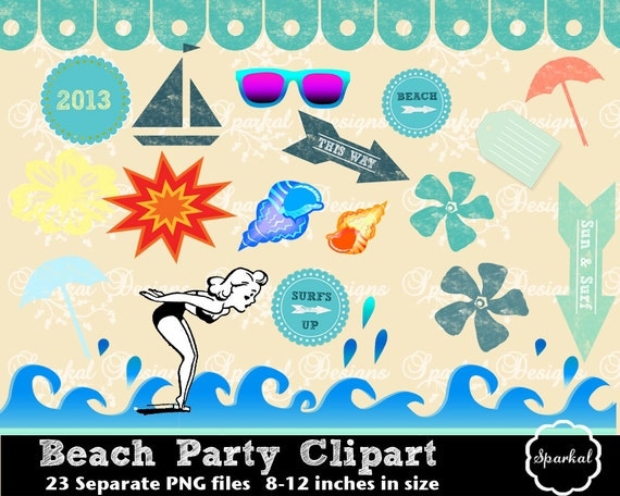 Items similar to Beach Clipart, Retro Summer elements and ...