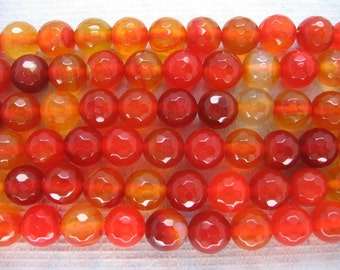 Beautiful Orange Red Agate Faceted Round Beads 8mm - 15 Inch Strand