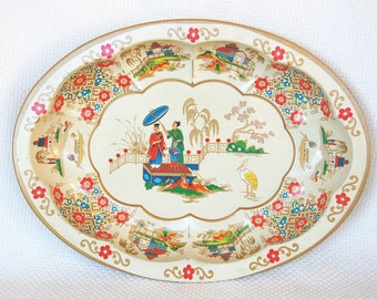 Vintage Oval Daher Asian Theme Tray Daher Decorated Ware with bright beautiful florals and gold accents
