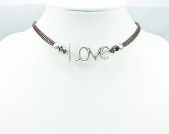 Custom Size & Color Leather Love Choker, Leather Necklace, Leather Jewelry