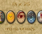 18x25 mm Digital Printable Ovals VINTAGE SYMBOLS #1 for Cameos Pendants Bezel Cabs Magnets..Masonic Suns Moons Stars Skulls Eyes