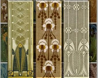 JUGENDSTIL 1x3 inch Slide size - Digital Printable collage sheet for Pendants Jewelry Magnets Crafts...Art Nouveau Vienna Secessionist