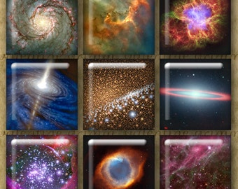 1 inch Digital Printable Squares PSYCHEDELIC SPACE Photo Collage for Jewelry Pendants Magnets Crafts...Spectacular Stars Suns Galaxies