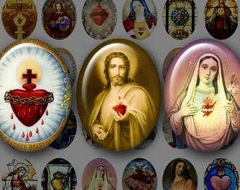 SACRED HEART 30x40 mm Ovals- Digital Printable vintage art collage sheet for making Pendants Cameos Bezel Cabs...Jesus Mary Burning Hearts