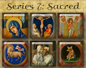 1 inch Digital Printable Squares SACRED ILLUMINATIONS Series No. 7 from Old Manuscripts for Jewelry Magnets Crafts