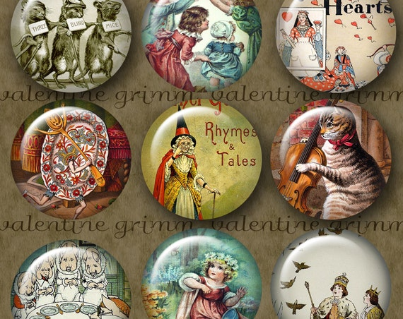 MOTHER GOOSE 1 inch Circles - Digital Printable collage sheet for Jewelry Pendants Magnets Crafts...vintage Nursery Rhymes in art