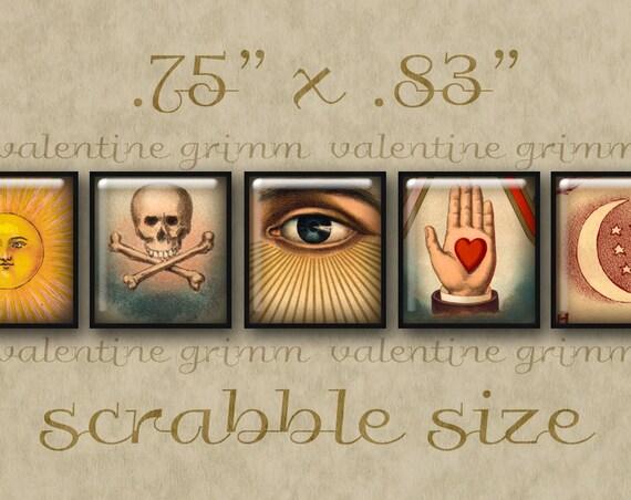 VINTAGE SYMBOLS #1 Scrabble Size Art - Digital Printables for Jewelry Magnets Crafts...Masonic Emblems Suns Moons Stars Skulls Eyes