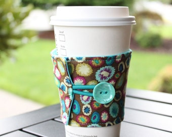 Reusable Java Jacket - Fabric Coffee Wrap - Reusable Cup Sleeve - Indie Artist Kisses - Teal Purple Brown Coffee Cozy - Java Drink Wrap