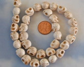 12mm by 10mm Skull Beads Strand Cream Colored Howlite Stone