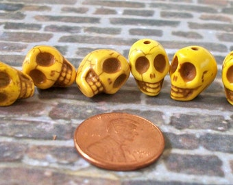 12mm by 10mm Skull Beads Bright Yellow Stone