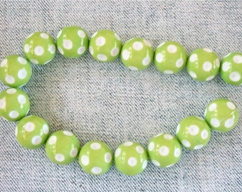 Polka Dotted Lime Green with White Spots Gumball Acrylic Bubblegum Beads Strand