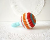 Crochet baby rattle, soft toy, amigurumi crochet, baby toy, baby shower gift