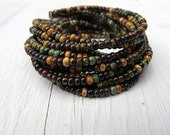 Rustic Seed Bead Cuff Bracelet: Layered Czech Glass, Autumn Colors