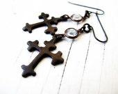 RESERVED Bohemian Cross Dangle Earrings, Black Brass, Vintage Vibe, Gothic