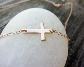 Rose Gold Sideways Cross Necklace-Off Centered Cross Necklace-Rose Gold Necklace-Horizontal Cross-Small Sideways Cross Necklace-Momentusny