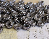 Aged Silver Czech Glass Rhinestone Rondelle Spacer Beads (10) 13mm x 6mm - Vintage Shabby Style - Boho ~ Art Deco - Central Coast Charms
