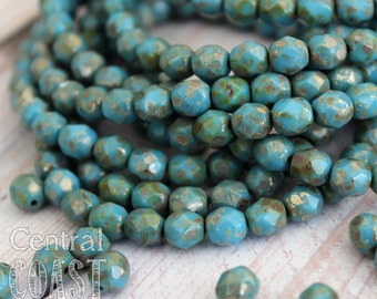 Tombstone Bits - Czech Glass Faceted Round Fire Polished Beads - Opaque Turquoise Blue - 6mm - 25 pcs - Central Coast Charms