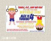Gymnastics Birthday Party Invitation - Gymnastics Birthday Invitation - Tumbling Party Invitation - Gym Party Invitation