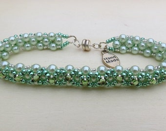Beadwork Bracelet in Sage Green Princess Bracelet with Montee Swarovski Crystal