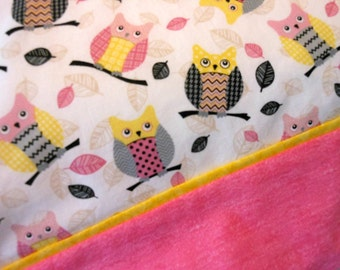 Pillowcase Owls in Pink Yellow and Black