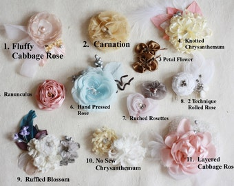20 Fabric Flower Tutorials, Flower Tutorials, Fabric Flower Patterns, PDF Patterns & Tutorials, Sewing Patterns, How to Make Fabric Flowers