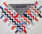 PERSONALIZED Baby Boy Chevron Ribbon Tag Sensory Blanket with Pacifier Clip Large 16 x 16 Gray Minky