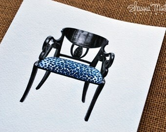 Original Black Lacquered Arm Chair Watercolor Painting