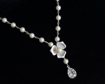 Bridal Necklace, Bridal Pearl Neklace, Swarovski Pearls and Swarovski Teardrop Rosary Style Necklace, White/Ivory Swarovski Pearls Necklace