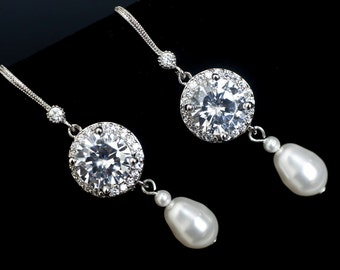 Wedding Bridal Jewelry, Bridal Earrings, Bridal Pearl Earrings, Cubic Zirconia and White/Ivory Swarovski Pearl Earrings,