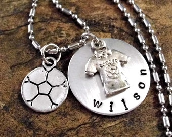 Super Sale Now Soccer Ball Necklace, Soccer Jersey Jewelry, Personalized Soccer Jewelry, Sports Jewelry, Hand Stamped Jewelry