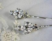 Bridal crystal hair pin,  vintage style, wedding hair  ACCESSORIES, Rhinestone head piece  set of 2