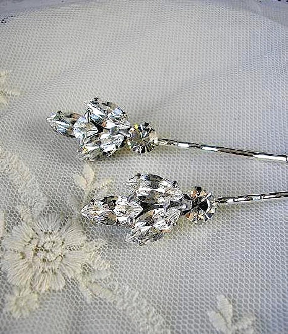 Bridal crystal hair pin,  vintage style, wedding hair  ACCESSORIES, Rhinestone head piece  set of 2