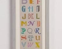 Multi Colour Letterpress Alphabet Print