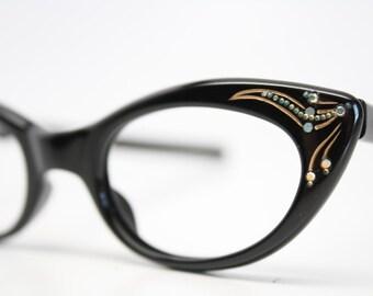 Black cat eye glasses vintage rhinestone cateye frames NOS