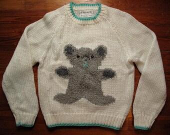 women's vintage hand-knit teddy bear sweater