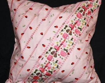 Girl's Decorator Pillow Lady Bugs on Pink