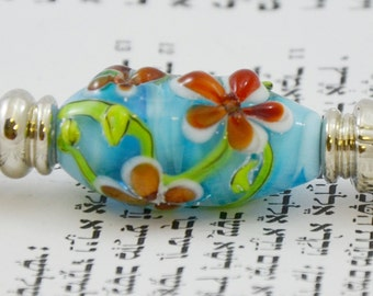 Galilee Spring- Torah Pointer YAD With Handmade Glass Bead - A Perfect Bar/Bat Mitzvah Gift (Y-GS-3)