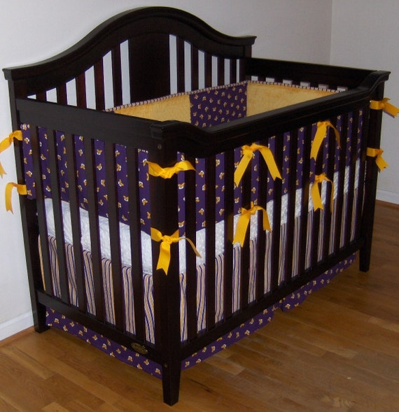 Purple and Gold Custom Crib Bedding Geaux Tigers, Made to Order