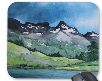 Mousepad - Mountain Landscape Watercolor Painting - Art for Home or Office