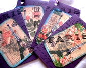 Gift Hang tags - set of 4 - Rose French Country Chic - Paris Apartment