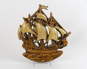 Painted Chalkware Ship Plaque