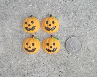 Pumpkin Flatback Cabochon - Set of 4