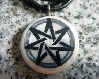 Heptagram / Fairy Star hand carved on a polymer clay white pearl color background. Pendant comes with a FREE pendant