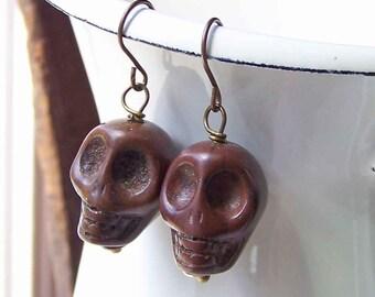 50% OFF Brown Howlite Skull Earrings, Skeleton Earrings, Brown Earrings, Beaded Earrings, Etsy, Etsy Jewelry,