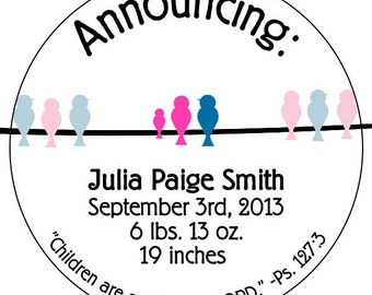 personalized baby announcement stickers, baby stat stickers, baby stats labels, baby bird stickers